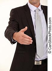 poignée main, sien, possession main, homme affaires, dehors