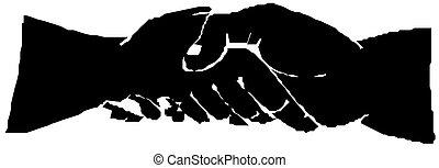 poignée main, silhouette