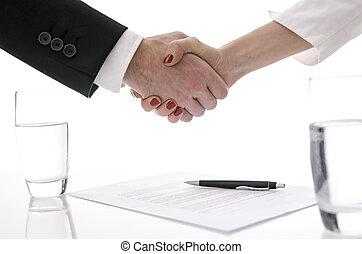 poignée main, sur, contrat