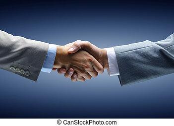 poignée main, -, tenant main