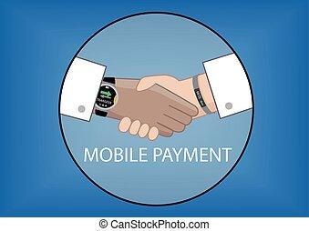 poignée main, transaction, mobile, argent, montre, paiement, intelligent
