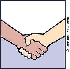 poignée main, vecteur