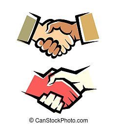 poignée main, vecteur, ensemble, symbole