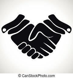 poignée main, vecteur, illustration, icône