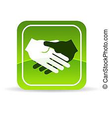 poignée main, vert, icône