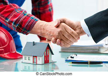poignées main, après, contrat, signature