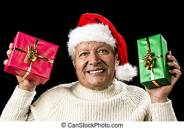 Poignant Aged Man Showing Red And Green Xmas Gifts -...