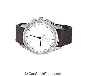 poignet, blanc, montre, isolé, fond