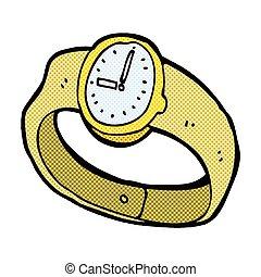 poignet, comique, montre, dessin animé