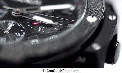 poignet, mâle, montre, macro, noir