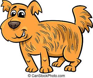 poilu, chien, illustration, dessin animé