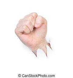 poinçons, papier, mâle, poing