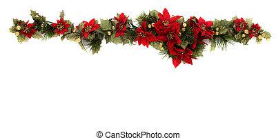 Poinsettia and christmas decoration border, side border