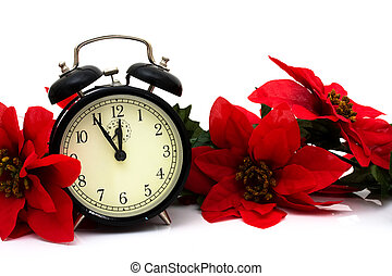 Christmas Time - Poinsettia border with a clock on a white ...