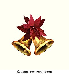 poinsettia, décoré, cloches, doré, noël, arc rouge, brillant, illustration, vecteur