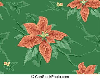 Poinsettia Design Seamless Background