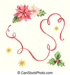 poinsettia, fita, flores, cartão, natal, aquarela, vetorial, estrelas, vermelho