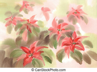 Poinsettia flower in green leaves background watercolor illustration