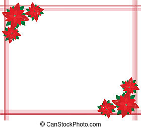 Poinsettia Flowers Forming A Beautiful Christmas Border