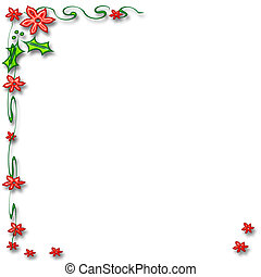 poinsettia frame - red flowers holly and poinsettia frame on...
