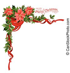 Poinsettia holiday corner. Holiday elements for design card,...