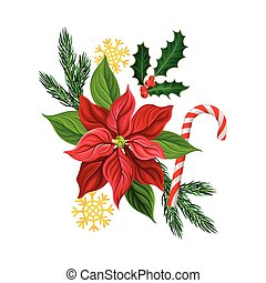 Poinsettia Red Flower and Fir Branch as Christmas Vector Composition