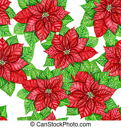 Poinsettia watercolor pattern - Poinsettia painted with ...