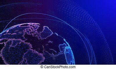 point., ネットワーク, connection., 世界的である, 世界地図, 3d, イラスト