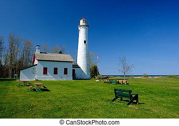 point, 1869, phare, construit, esturgeon