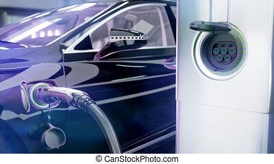 point., 4k, voiture électrique, 3d, charger, chargeur, animation