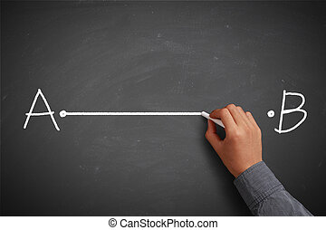 Hand with chalk drawing stratight line from point A to point B on chalkboard.