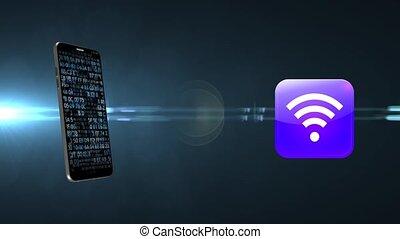 point, accès, téléphone., internet, maison, wi-fi