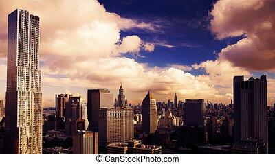 point, bâtiment, matin, parfait, manhattan, élevé, inférieur, gehry, timelapse, avantage, horizon