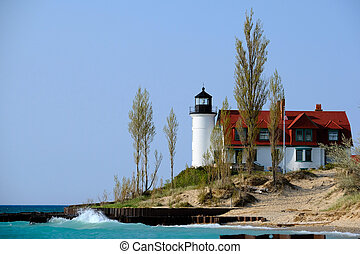 Point Betsie Lighthouse, built in 1858, Lake Michigan, MI,...