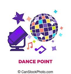point boule, danse, affiche, promotionnel, disco, brillant