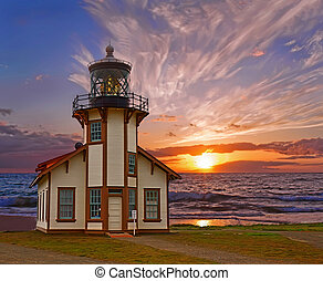 Point Cabrillo Lighthouse. Sunset. - Historical Point...