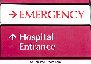 point entrée cas imprévu, local, hôpital, urgent, services médicaux, bâtiment