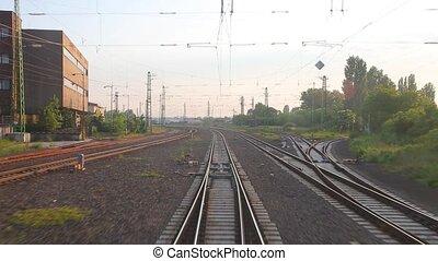 point, ferroviaire, voyage, vue