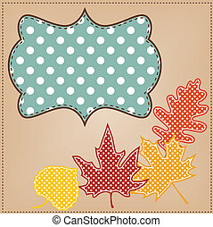 point, feuilles, cadre, polka, automne