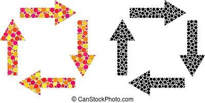 point, flèches, circulation, mosaïque, icônes