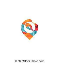 point, fourchette, signe, template., logo, épingle, design., cuillère, nourriture