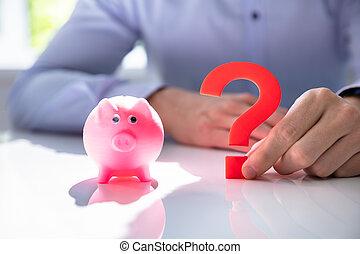 point interrogation, porcin, tenue, suivant, banque, homme