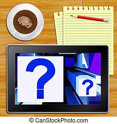 point interrogation, sur, cubes, spectacles, incertitude, tablette