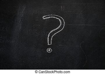 point interrogation, sur, noir, tableau