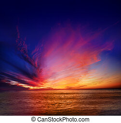 Point Loma Sunset - Vibrant and colorful sunset over the...