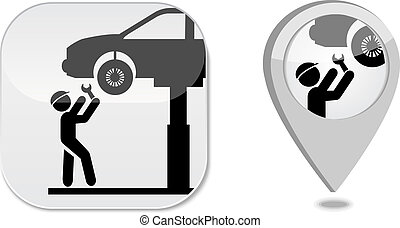 point, marqueur, service, icône, auto