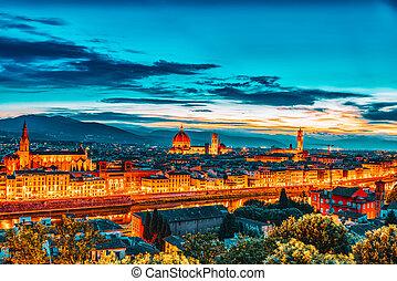point., noche, michelangelo, hermoso, paisaje, panorama, ...