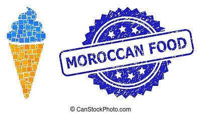 point, nourriture, marocain, glace, cachet, crème, détresse, carrée, timbre, mosaïque