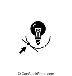 Point of convergence black icon concept. Point of convergence flat  vector symbol, sign, illustration.