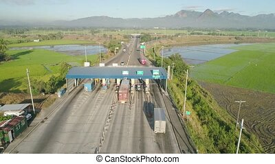 Point of payment on the highway. - Highway with a toll...